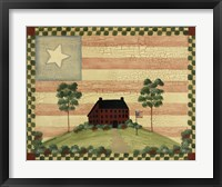 Red House With Flag Framed Print