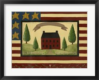 Framed Red House With Flag Border