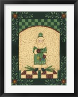 Green Antique Santa Framed Print