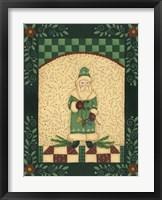 Green Antique Santa Framed Print