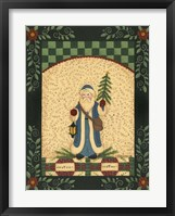 Framed Blue Antique Santa