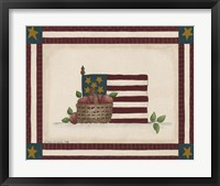 Flag With Basket Of Apples Framed Print