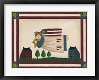 Patriotic Angel With Flag Border Framed Print