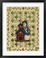 Snowwoman Teacher With Schoolhouse Framed Print