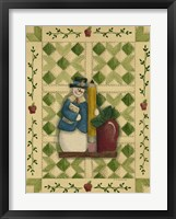 Snowman Teacher With Apple & Pencil Framed Print