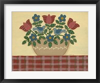 Framed Red & Blue Flowers With Red Tablecloth