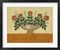 Orange Flowers With Gold  Orange Tablecloth Framed Print