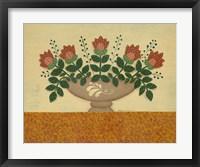 Orange Flowers With Gold  Orange Tablecloth Framed Print
