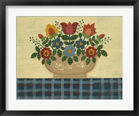 Multi-Colored Flowers With Dark Blue Tablecloth Framed Print