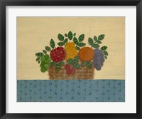 Fruit With Lt. Blue Tablecloth Framed Print