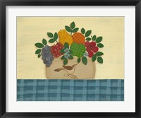 Fruit With Dark & Lt. Blue Tablecloth Framed Print