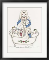 Bath Time Bunnies 2 Framed Print