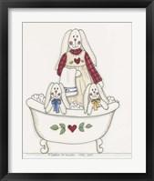 Bath Time Bunnies 3 Framed Print