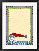 Bright Snowman W/Purple Border Framed Print