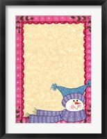 Bright Snowman W/Pink Border Framed Print