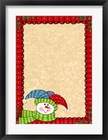Bright Snowman W/Red Border Framed Print