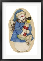 Lighthouse Collector Snowman Framed Print