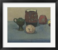Framed Stoneware Pot and Apples, 1887