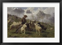 Framed Shepherd Boy in the Pyrenees Offering Salt to his Sheep, 1864