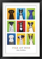 Framed Folk Art Dogs