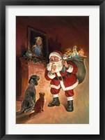 Framed Santa And Family Pets