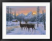 Framed Whitetail & Cabin