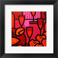 Framed Poppies Apples Wine And Fish
