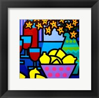 Wine, Lemons and Flowers Framed Print