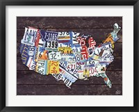 Framed USA License Plate Map