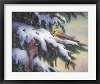 Framed Winter Cardinals