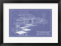 301 Cypress Dr. Blueprint - Inverse Framed Print