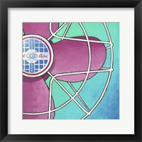 Bel-Aire Fan - Pink on Turquoise Framed Print