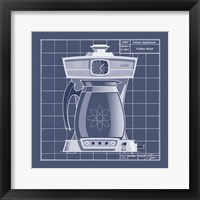 Galaxy Coffeemaid - Blueprint Framed Print