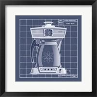 Galaxy Coffeemaid - Blueprint Framed Print