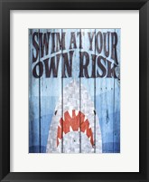 Swim at Your Own Risk Framed Print
