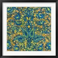 Blue and Orange Swirls Framed Print