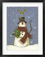 The Snowman's Gift Framed Print