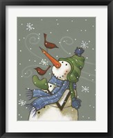 Snowman with Birds Framed Print