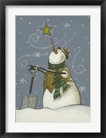 Framed Snowman at Rest