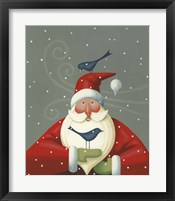 Framed Santa with Bluebirds