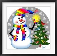 Snowman Bird Tree Framed Print