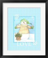 Snowman Dove Love Framed Print