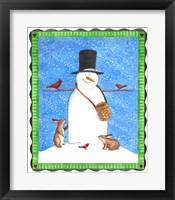 Framed Snowman Black Hat Heart Border