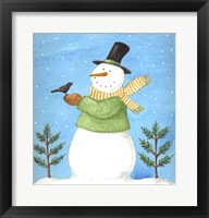 Snowman Green Blackbird Framed Print