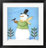 Framed Snowman Green Blackbird