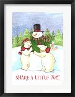 Framed Snowman And Polar Share Joy