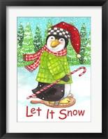 Framed Penguin Let It Snow