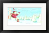 Framed Snowman Bunnies Let It Snow