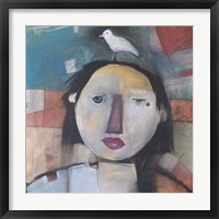 Framed Girl With Dove On Head