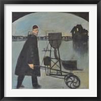 Man Walking Machine On Beach 2 Framed Print